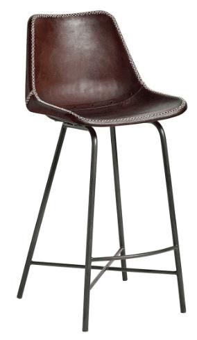 Høj barstol i læder – mørkebrun