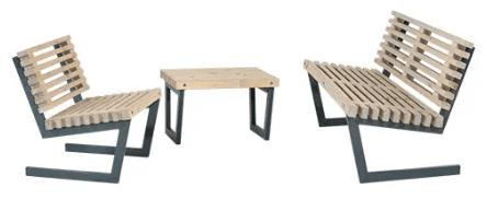 Plus loungesæt med sofa, stol og lille bord – Siesta
