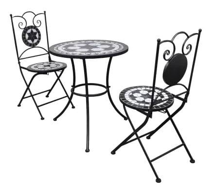 Romantisk bistrosæt fra vidaXL i 3 dele - med keramikfliser i sort og hvid