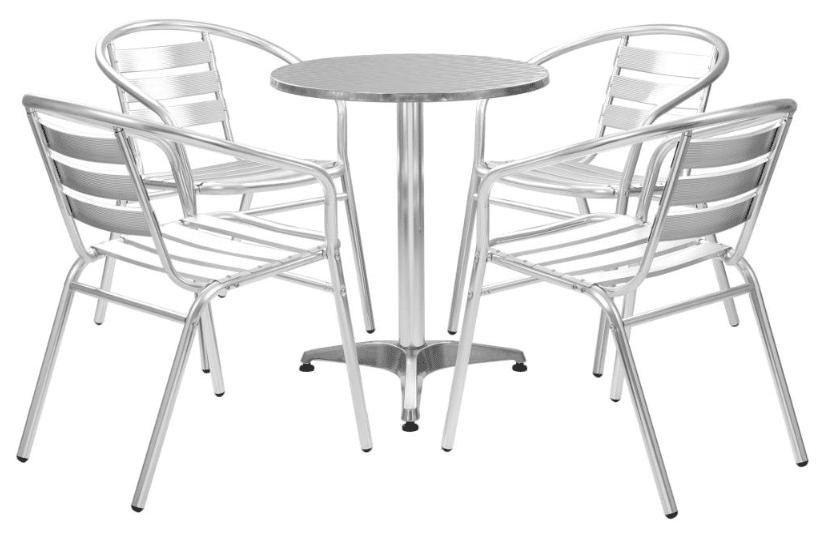 vidaXL udendørs spisebordssæt 5 dele i aluminium