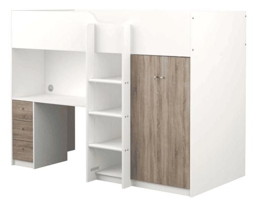Lyon Halvhøjseng, hvid/natur, med skrivebord og opbevaring - en god opbevaringsseng til det lidt større barn