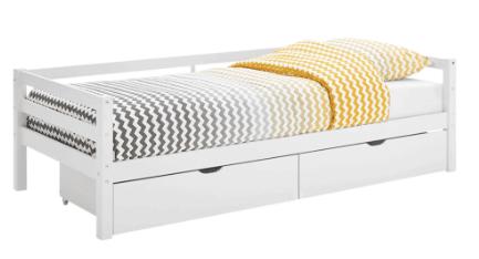 Norlik børneseng med skuffer, hvid - en stilren seng med skuffesæt til optimal opbevaring